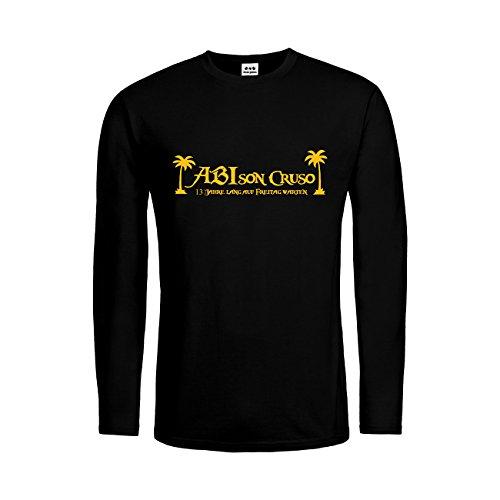 dress-puntos Herren Langarm T-Shirt Abison Cruso 13 Jahre lang auf Freitag warten 20drpt15-mtls00192-11 Textil black / Motiv gelb Gr. (Auf Einem Kostüme Regal Elf)