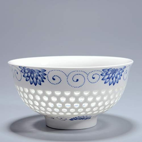 Uniqus 4.5Inch Creative China Dinnerware Ceramic Bowl Blue and White Porcelain Hollow Rice Bowls Soup Flower Pattern Kitchen Tableware - Flower Soup Bowl