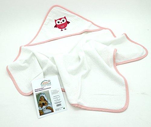 Kuscheliges Baby Badetuch mit Kapuze in 75x75 cm bestickt mit süßer Eule in pink rosa 100% Baumwolle Hautfreundlich Ökotex Kinder...