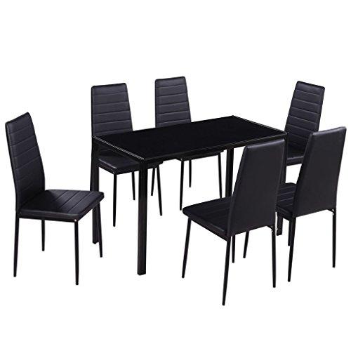 mewmewcat Set Tavolo da Pranzo/Tavolo Cucina con sedie 7 Pezzi Nero