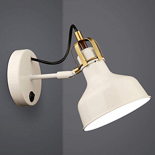 Verstellbare Flügel-lampe (CWJ Wand-Lampe-American Village Links industriellen Stil weiß verstellbare Lampe Kappe Eisen Wandleuchten einfach Rocker Arm Wandleuchte Retro Wohnzimmer Schlafzimmer Nachttischlampe - Wand Beleucht)