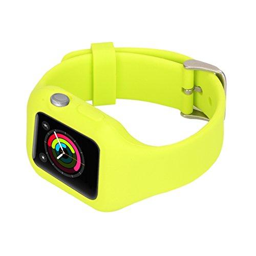 1x Silikon Sport Band Sportarmband Armband Uhrenarmband Erstatzband Bügel für Apple Watch Sportuhr Smartwatch Uhrenarmband, Farben und Größen Auswählbar, Geeignet für Frauen und Herren - Grün für 42mm iWatches