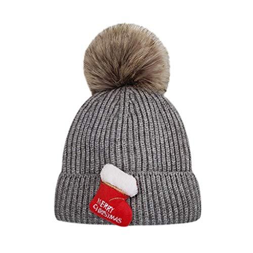 Cuteelf Kinder Winter warme Mütze Weihnachtskarte Stricken warme Wolle Ball Cap Kopf Mütze warme Mütze Mode Weihnachten Pferdeschwanz Urinal häkeln häkeln Outdoor-Hut