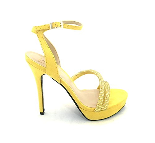 AwAy sandalo tacco elegante blu plateau con strass cerimonia raso giallo sandal heel yellow satin whith diamonds