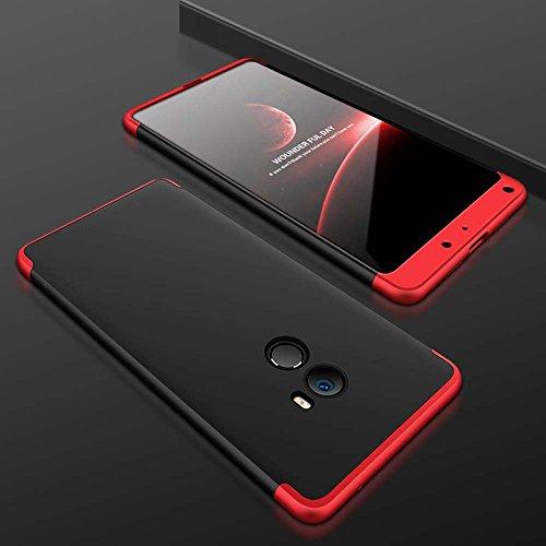 TANGNI Funda Xiaomi Mi Mix 2 Carcasa Xiaomi Mi Mix 2 con [ Protector de Pantalla de Vidrio Templado ] 3 en 1 Desmontable azos Xiaomi Mi Mix 2 Funda 360 ¡ã Complete Package Protection - Negro Rojo
