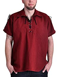 Elbenwald Pirate Shirt Medieval Shirt Short Sleeves Lacing Cotton Red