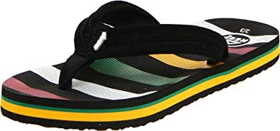 Reef Youth Ahi Rasta Flip And Thong  Sandal Kids R2345RS3, 3/4 US, 	2/3 UK