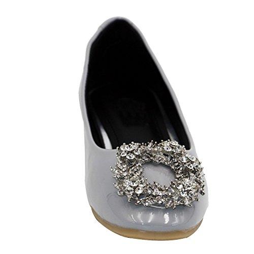 AalarDom Damen Lackleder Weiches Material Ziehen Auf Quadratisch Zehe Flache Schuhe Grau-Diamanten