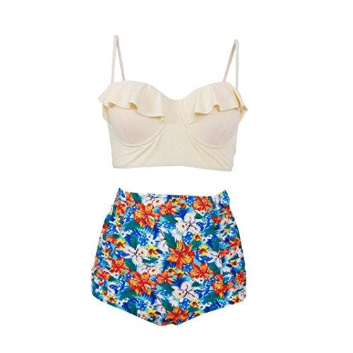 Damen Badenanzug, Malloom® Bikini Tankini 50er Damen Retro Vintage Bikini Sets High Waist Bademode Badeanzug Neckholder Swimsuit