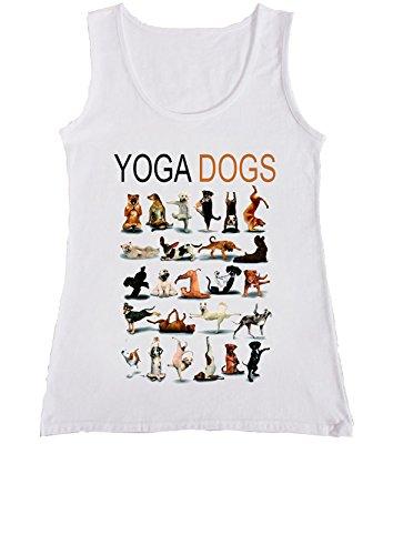 Yoga Dogs Funny Gym Pug Women Ladies Vest Tank Top T Shirt-L