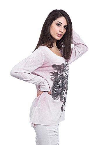 Abbino 15524 Shirts Tops Damen - Made in Italy - Viele Farben - Frühjahr Herbst Sommer Übergang Damenshirts Damentops Viskose Bedrucken Locker Lässig Langarm Sexy Sale Freizeit Elegant Rosa (Art. 12968)