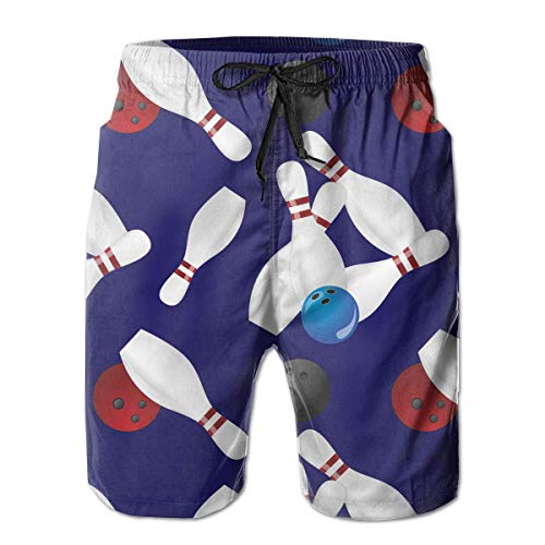 OPoplizg Boys Board Shorts Bowling Ball Quick Dry Swim Surf Trunks,M - Lace-up Trunk
