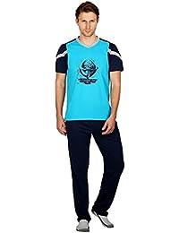 Nightwear For Men - Night Suit - Tshirt & Pyjama Combo Set - Sinker Material - Blue Color - Half Sleeves - Branded... - B078Y57NVB