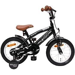 AMIGO BMX Fun - Velo enfant - 14 Pouces - Garçon - 3 ans - Avec frein à rétropédalage - Noir