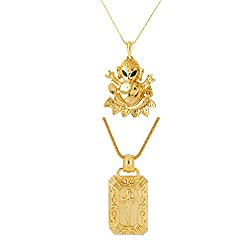 Dare Set of Gold Tone Sword and Lord Ganesha Pendants