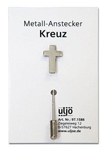 Uljö °° Metall-Anstecknadel, Kreuz silber mit langer Nadel
