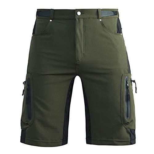 Cycorld MTB Hose Herren Radhose Wasserabweisend Mountainbike Kurz Outdoor Sport Fahrradhose Herren Shorts Herren Bike MTB Shorts, Armee-grün Ohne Pad, 2XL/cm(Waist:84-88, Hip:101-105)