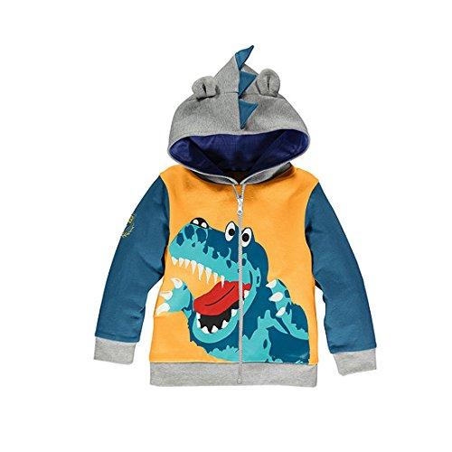 GWELL Jungen Kinder Sweatshirt aus Baumwolle mit Kapuze & Reißverschluss Sweatshirtjacke Dinosaurier Tieroutfit Gelb 100 -