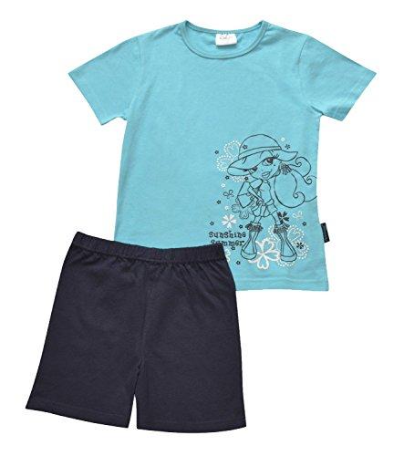 Moonline Mädchen Pyjama,128, - Langarm Nachthemd Thermo