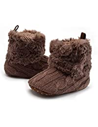 Baby Non-Slip Soft Sole Shoes Winter Warm Knitted Crib Shoes Infant Toddler Prewalker Boots for Baby 12-18 Months (Dark Brown)