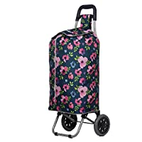 Hoppa Lightweight Shopping Trolley Folding 2 Wheel Large Capacity Shopper (Navy Floral)