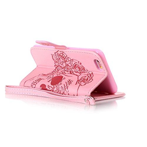 iPhone 6 Coque, iPhone 6 Etui,Ultra Slim Flip PU Cuir Portefeuille Wallet Case Cover Housse Etui avec Fonction Stand pour Apple iPhone 6 -Fleur bleue Crâne rose
