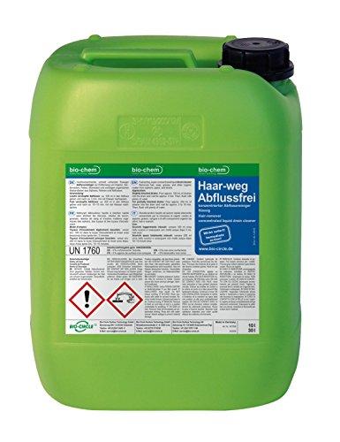 bio-chem® HAAR-WEG Abfluss-Frei | 10 l Kanister | Abflussreiniger | Rohrreiniger | Rohrreinigung | Rohrfrei | Abflussrohr | Geruchskiller | Entfernt und löst hartnäckigste, organische Verstopfungen