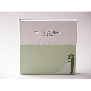 Hochzeitsalbum Cord grün mit Brautpaar