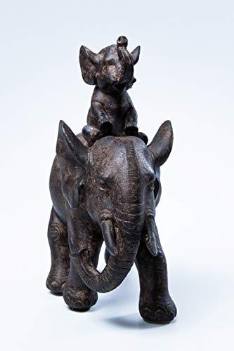 Kare Design Deko Figur Elefant Dumbo Uno, Afrika Deko im Kolonialstil, kleiner Babyelefant mit Elternteil, Wohnzimmer Dekoration, schwarz (H/B/T) 19x17,5x8,5cm