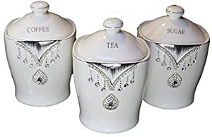 Tea Sugar Coffee Canister Jar Storage Set Of 3 With Sparkling Crystal Diamante Elements