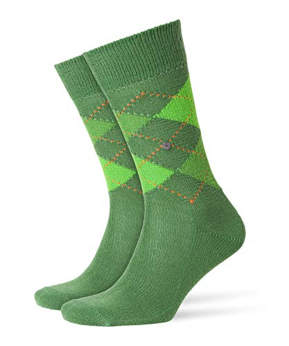 Burlington Herren Preston klassisches Argyle Muster 1 Paar Casual Socken, Blickdicht, grün (Bright Lime 7612), 40/46