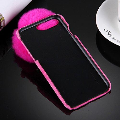 YAN Für iPhone 7 Plus Plüsch Tuch Abdeckung PC Schutzhülle mit Pelz Ball Kette Anhänger ( Color : White ) Magenta