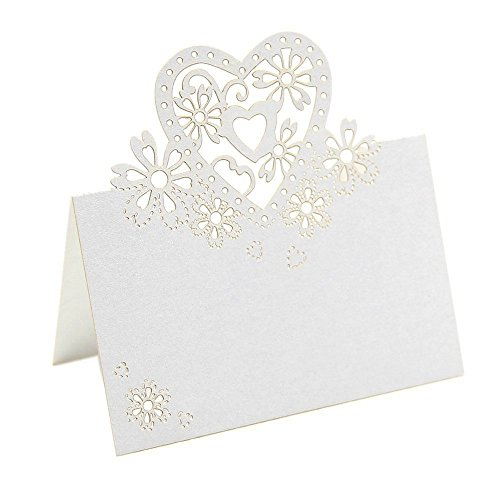 Winrembrandt 50Pcs Love Heart Laser Cut Table Name Place Cards Wedding Party Favor Decor (White) by Winrembrandt