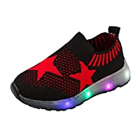 Hukezhu Kids Led Light Up Shoes, Luminous Flashing Sneakers for Boys Girls, 7 Colors Flashing Trainers Low-top Charging Sneakers Black