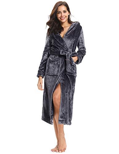 Aibrou Pyjama Femme Polaire Robe Chambre Chapeau Longue Hiver Sortie de Bain Peignoir Pas Cher personnalisé Gris foncé EU48-50