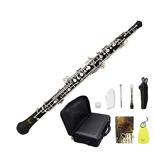 ammoon Oboe C Key Kupfer-Nickel überzogenes Silber Professionelle Holzmusikinstrument für Anfänger mit Reed Handschuhe Reinigungstuch Schmiermittel Schraubendreher Leder Tasche Strap