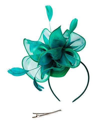Fascinators Hut Blume Mesh Bänder Federn auf einem Stirnband und einem geteilten Clip Cocktail Tea Party Headwear für Mädchen und ()