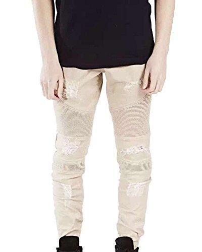Pantalon Jean Motard Stretch Coupe Skinny Effet Plier Pantalon Denim Homme Jean Serré Kaki