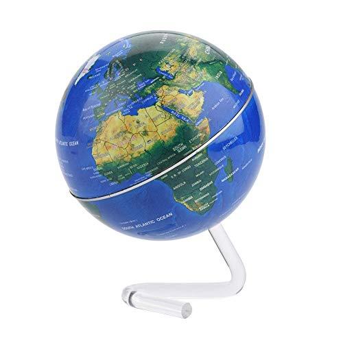 Globo Terráqueo Globo Educativo de Escritorio Tierra Giratoria con Soporte Geografía Nacional Spinning Herramientas de Ahorro de Energía para La Escuela Fuentes de La Oficina en El Hogar(Azul)