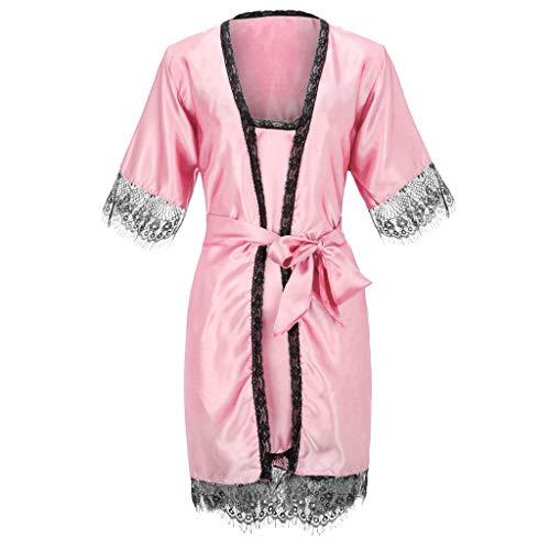 ABsoar Damen 2PC Sommer Schlafanzug Bademantel Seidenimitat Bequemer Pyjama Set Spitze Nachtwäsche Frauen Babydoll Dessous Nachthemd Robe Morgenmantel Nachtwäsche Set (Frauen Nachthemd Set)