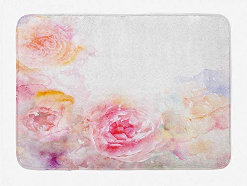 KAKICSA Shabby Chic Bath Mat, Nature Garden Romantic Victorian Flowers Roses Leaves Image, Plush Bathroom Decor Mat with Non Slip Backing, Pale Pink Hot Pink and White,19.6X31.4 inch -