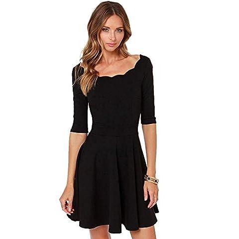 URANUS Women's Scallop Neck Petite Lined Half Sleeve 50s Style Swing Tunic Skater Dress
