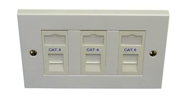cat 6 3 way triple data network outlet kit, faceplate amazon co uk