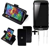 K-S-Trade® Case Schutz Hülle für Ruggear RG730 + Earphones Handyhülle Flipcase Smartphone Cover Handy Schutz Tasche Walletcase schwarz (1x)
