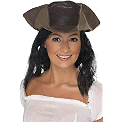 Smiffy'S 25530 Sombrero De Pirata Con Aspecto De Cuero, Marrón, Tamaño Único