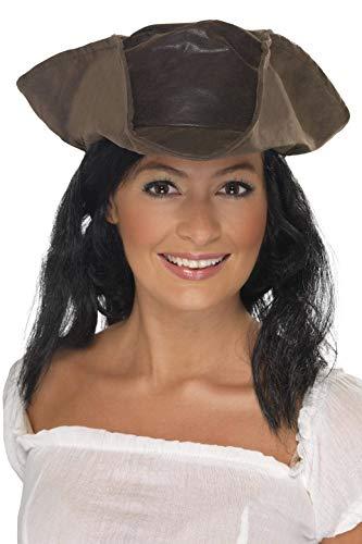 Smiffys Unisex Leder-Look Piraten Hut mit schwarzen Haaren, One Size, Braun, 25530