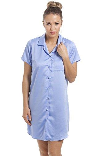Camille - Damen Luxus-Nachthemd aus Satin - knielang - flieder Blau
