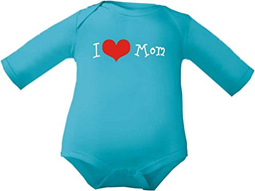 Petite Frimousse Body de bébé garçon Baby Body à manches longues fille I love mom - Bleu - 3 ans