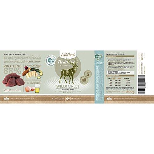 AniForte® PureNature Nassfutter 800g Wild Forest Hundefutter- Naturprodukt für Hunde (Frisches Wild, 6x800g) - 3