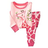 Qzrnly Girls Animal Printed Long Sleeve Cotton Pyjamas Sets Nightwear Sleepwear PJS
